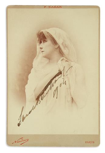 BERNHARDT, SARAH. Photograph dated and Signed, cabinet card bust portrait by Paul Nadar,