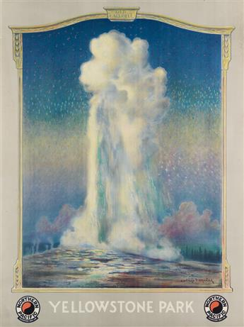 EDWARD VINCENT BREWER (1883-1971). YELLOWSTONE PARK / OLD FAITHFUL. Circa 1930. 40x29 inches, 101x75 cm.