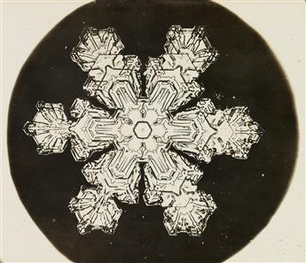 WILSON A. BENTLEY (1865-1931) Album of 55 photographs, including 51 snow crystals, 2 landscapes, a frost study, and a jewel-like spider