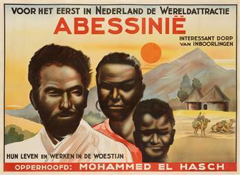 DESIGNER UNKNOWN. ABESSINIË. 1936. 25x35 inches, 63x89 cm. Mes & Bronkhorst, Haarlem.