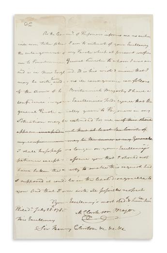 CLARKSON, MATTHEW. Autograph Letter Signed, M. Clarkson Major, to British General Henry Clinton, retained draft,