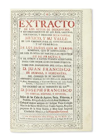 (MEXICAN IMPRINT--1748.) Cuevas, Aguirre y Espinosa, José Francisco. Extracto de los autos de diligencias, y reconocimientos
