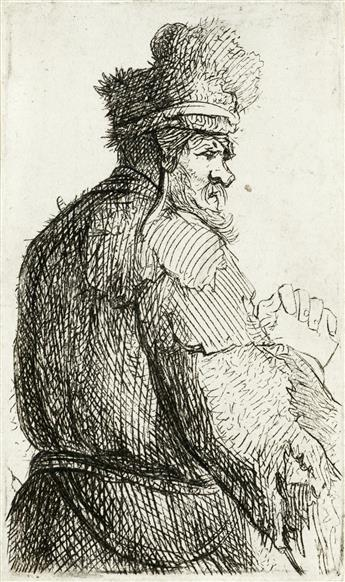 REMBRANDT VAN RIJN Old Man Seen from behind, Profile to Right: Half Figure.