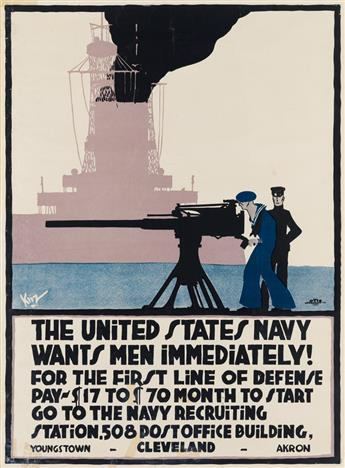 SIGNATURE UNKNOWN. THE UNITED STATES NAVY WANTS MEN IMMEDIATELY! Circa 1917. 26x19 inches, 67x49 cm. The Otis Lithograph Co., Cleveland