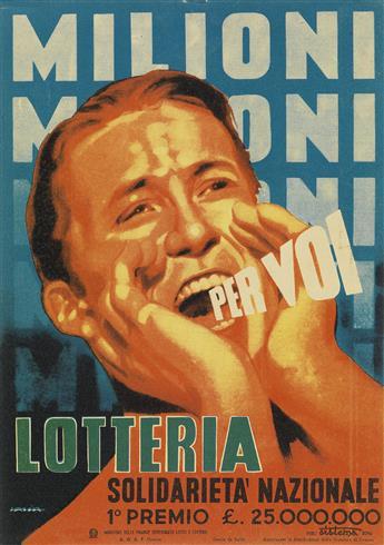 ALFREDO LALIA (1907-?). MILIONI PER VOI / LOTTERIA. Small sign. 9x6 inches, 24x17 cm. A.G.A.F., Firenze.
