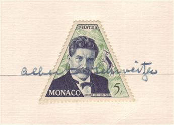 SCHWEITZER, ALBERT. Signature, written across a 5-franc postage stamp from Monaco showing the bust of Schweitzer, on a small card.