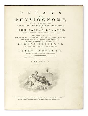 LAVATER, JOHANN CASPAR. Essays on Physiognomy.  3 vols. in 5.  1789-98.  Lacks 2 plates.