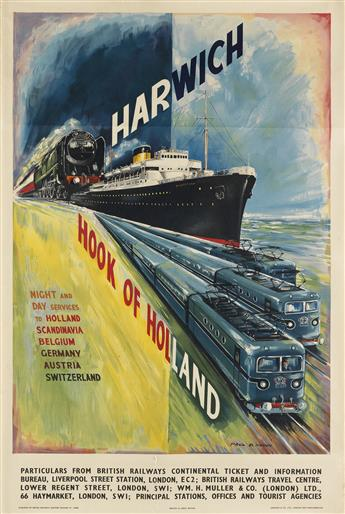 PAUL B. MANN (DATES UNKNOWN). HARWICH / HOOK OF HOLLAND. Circa 1955. 40x25 inches, 101x63 cm. Jordison & Co., Ltd., London and Middlesb