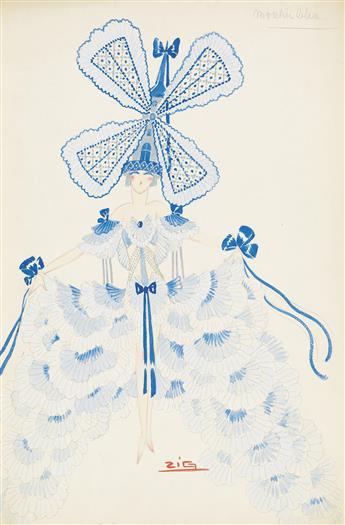 ZIG (LOUIS GAUDIN). (COSTUME / PARIS / FOLLIES)  Moulin Bleu * Le Lustre Parisien Chiffons.