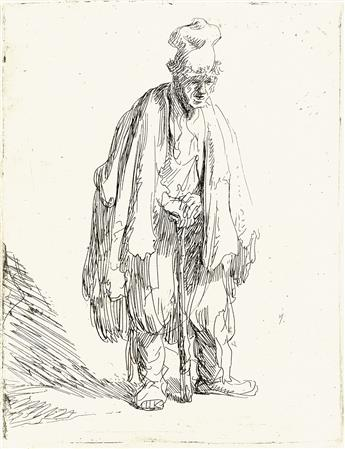 REMBRANDT VAN RIJN A Beggar in a High Cap, Standing and Leaning on a Stick.