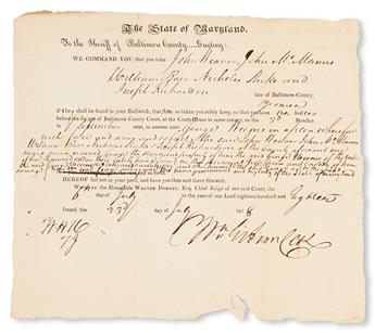 (SLAVERY AND ABOLITION.) MARYLAND. We command you take John Weaver, John McManus, William Baer, Nicholas Starke, and Joseph Richardson