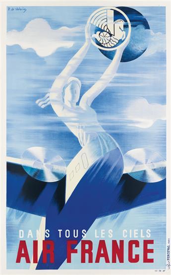 ROGER DE VALERIO (1896-1951). AIR FRANCE / DANS TOUS LES CIELS. 1935. 39x23 inches, 99x59 cm. Perceval, Paris.