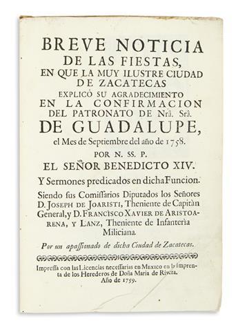 (MEXICAN IMPRINT--1759.) Breve noticia de las fiestas.