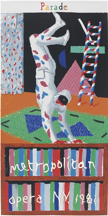 DAVID HOCKNEY (1937- ). METROPOLITAN OPERA / PARADE. 1981. 80x41 inches, 204x104 cm. Petersburg Press, [London.]