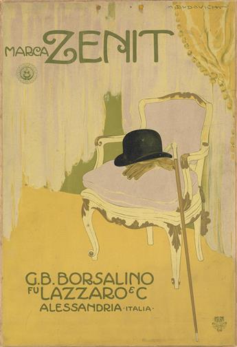 MARCELLO DUDOVICH (1878-1962). MARCA ZENIT / G.B. BORSALINO. Window card. 1911. 18x12 inches, 47x32 cm. G. Ricordi & Ci., Milan.