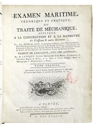 JUAN Y SANTACILLA, JORGE. Examen Maritime, Théorique et Pratique.  2 vols.  1783