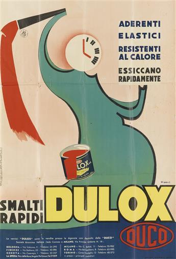 MARCELLO NIZZOLI (1887-1969). DULOX / DUCO. 1933. 39x26 inches, 99x68 cm. Bertarelli, Milan.