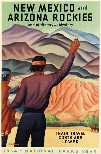 WILLIAM WILLMARTH (DATES UNKNOWN). NEW MEXICO AND ARIZONA ROCKIES / NATIONAL PARKS YEAR. 1934. 41x27 inches, 104x68 cm.