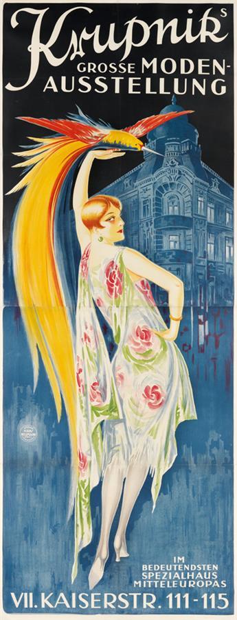 ATELIER HANS NEUMANN. KRUPNIKS GROSSE MODEN - AUSSTELLUNG. Circa 1927. 98x37 inches, 250x94 cm. Atelier Hans Neumann, Vienna.