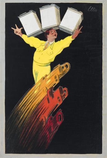 ELLÈS (LOUIS SCHIFFER, DATES UNKNOWN). [LHUILE DE MOTEUR.] Pastel, gouache and collage maquette. 1927. 23x15 inches, 59x39 cm.