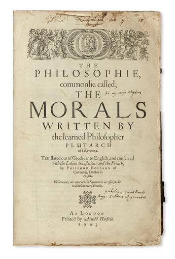 PLUTARCH. The Philosophie, commonlie called the Morals.  1603