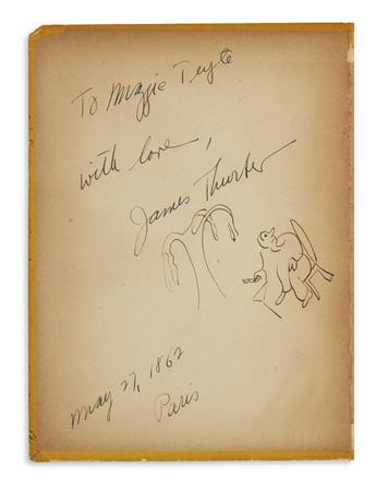THURBER, JAMES. Lewis Carrol. Alice au pays des Merveilles. Signed and Inscribed, with small ink drawing: