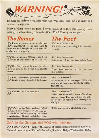 DESIGNER UNKNOWN. WARNING! / THE RUMOR / THE FACT. Circa 1915. 29x21 inches, 73x53 cm.