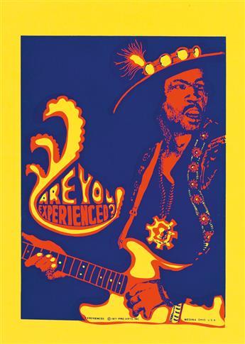DESIGNER UNKNOWN. ARE YOU EXPERIENCED? 1971. 21x15 inches, 53x38 cm. Pro Arts, Inc., Medina, Ohio.