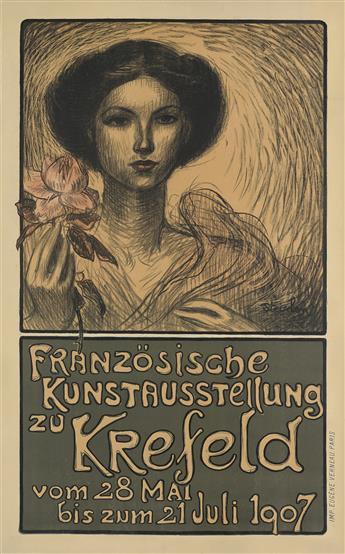 THÉOPHILE-ALEXANDRE STEINLEN (1859-1923). FRANZÖSISCHE KUNSTAUSSTELLUNG ZU KREFELD. 1907. 34x21 inches, 87x54 cm. Eugène Verneau, Paris