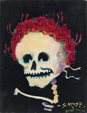 STANLEY MOUSE (1940- ). [BABY SKULL AND ROSES / GRATEFUL DEAD.] Oil on canvas. 1985. 18x14 inches, 45x35 cm.
