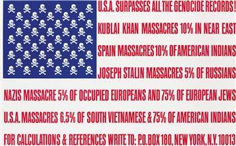 GEORGE MACIUNAS (1931-1978). U.S.A. SURPASSES ALL THE GENOCIDE RECORDS! 1966. 21x34 inches, 54x87 cm.