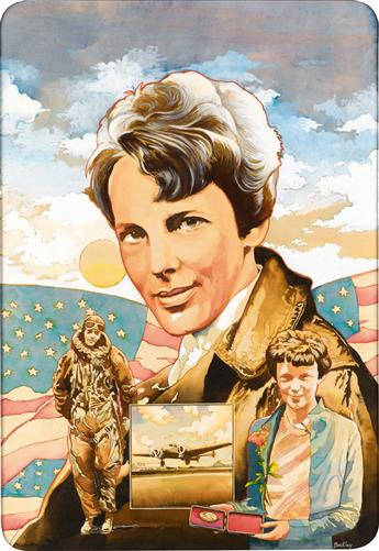 (ADVERTISING / AVIATION.)  JAMES BARKLEY. Amelia Earhart.