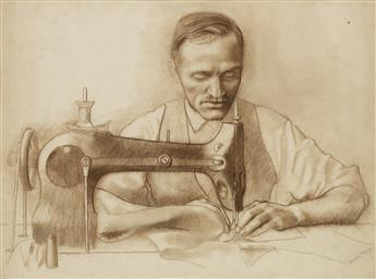 ERNEST FIENE. (LABOR MOVEMENT / TRIANGLE SHIRTWAIST / MURAL) Man at a Sewing Machine.