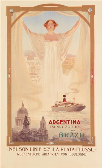 ODIN ROSENVINGE (1880-1957). ARGENTINA (SUNNY SOUTH) AND BRAZIL. Circa 1910. 33x20 inches, 83x51 cm. Turner & Dunnett, Liverpool.