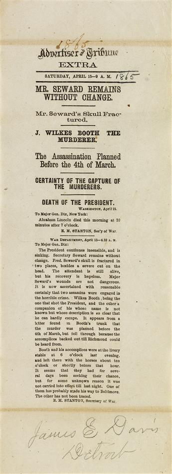 (LINCOLN, ABRAHAM.) Advertiser and Tribune assassination extra naming Booth as the murderer.