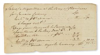 (SLAVERY AND ABOLITION) NEW YORK CITY. Detailed account of the sale of a slave in New York, to be transported to Jamaica.
