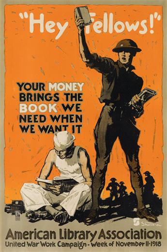 VARIOUS ARTISTS. [WORLD WAR I / AMERICAN & BRITISH RECRUITING.] Group of 8 posters. Circa 1918. Sizes vary.