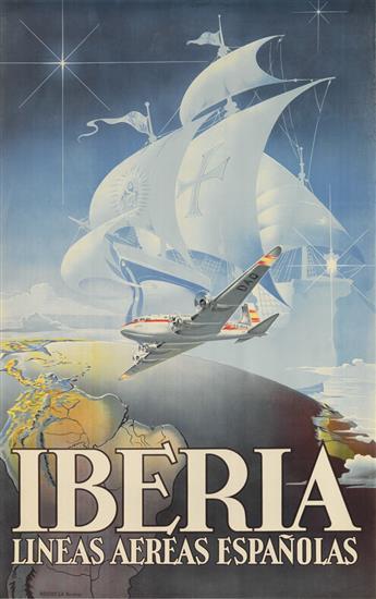DESIGNER UNKNOWN. IBERIA / LINEAS AEREAS ESPAÑOLAS. Circa 1946. 39x24 inches, 99x61 cm. Rieusset, Barcelona.