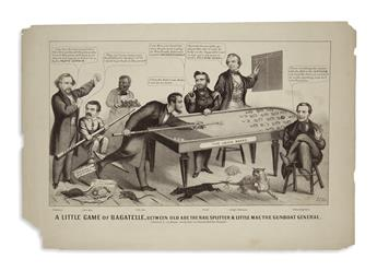 (PRINTS--CARTOONS.) Magee, J.L.; artist. A Little Game of Bagatelle, between Old Abe the Rail Splitter & Little Mac the Gunboat General