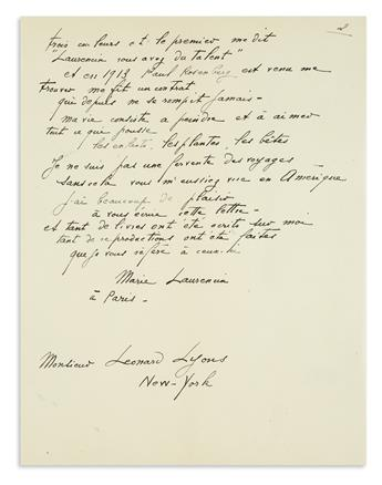 LAURENCIN, MARIE. Autograph Letter Signed, to newspaper columnist Leonard Lyons, in French,