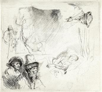 REMBRANDT VAN RIJN Sheet of Studies, with a Woman Lying Ill in Bed, etc.