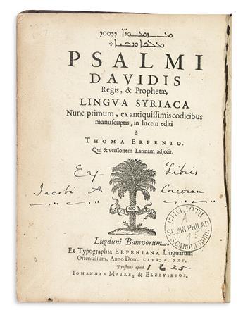 BIBLE IN SYRIAC AND LATIN.  Psalmi Davidis . . . lingua Syriaca nunc primum . . . in lucem editi.  1625