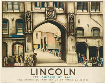 GORDON MITCHELL FORSYTH (1879-1952). LINCOLN / ITS QUICKER BY RAIL / L•N•E•R. 1930. 39x49 inches, 101x126 cm. Waterlow & Sons Limited,