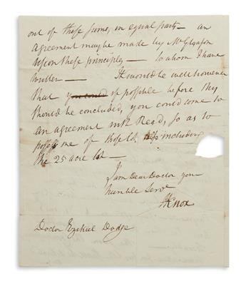 HENRY KNOX. Autograph Letter Signed, HKnox, to Dr. Ezekiel G. Dodge (Dear Doctor), agreeing to purchase land...