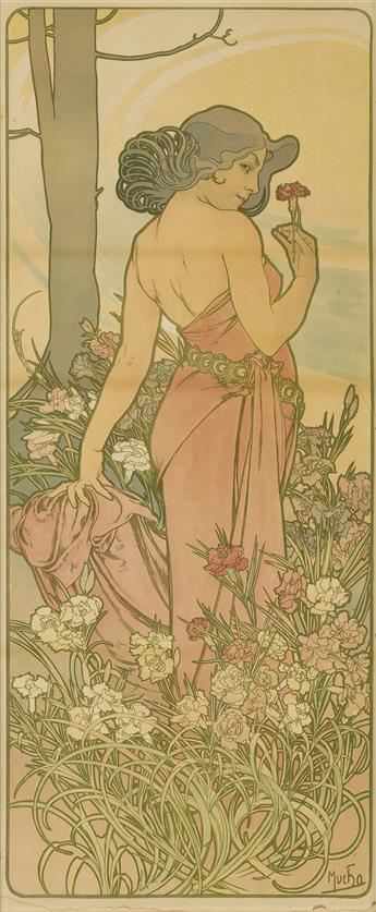 ALPHONSE MUCHA (1860-1939). [THE FLOWERS / CARNATION.] 1898. 42x18 inches, 106x45 cm. [F. Champenois, Paris.]