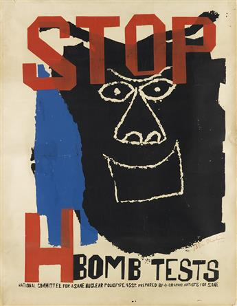 BEN SHAHN (1898-1969). STOP H BOMB TESTS. 1960. 44x34 inches, 111x86 cm.