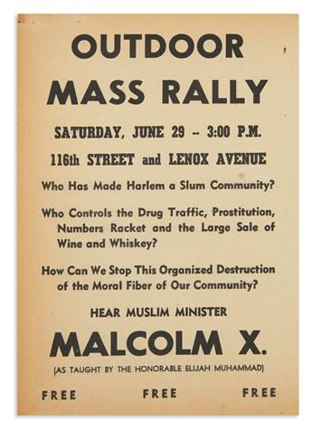 (MALCOLM X.) Outdoor Mass Rally . . . Hear Muslim Minister Malcolm X.