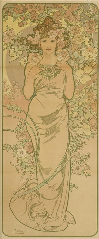 ALPHONSE MUCHA (1860-1939). [THE FLOWERS / ROSE.] 1898. 42x18 inches, 106x45 cm. [F. Champenois, Paris.]