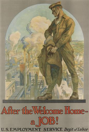 E.M. ASHE (1876-1941). AFTER THE WELCOME HOME - A JOB! Circa 1919. 39x26 inches, 99x66 cm. [Heywood Strasser & Voigt, New York.]