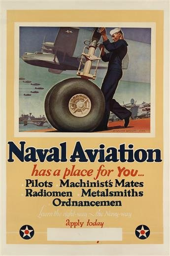 MCCLELLAND BARCLAY (1891-1943). NAVAL AVIATION HAS A PLACE FOR YOU. Circa 1942. 41x27 inches, 104x43 cm.